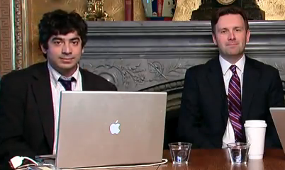 White House Videographer Arun Chaudhary and Deputy Press Secretary Josh Earnest