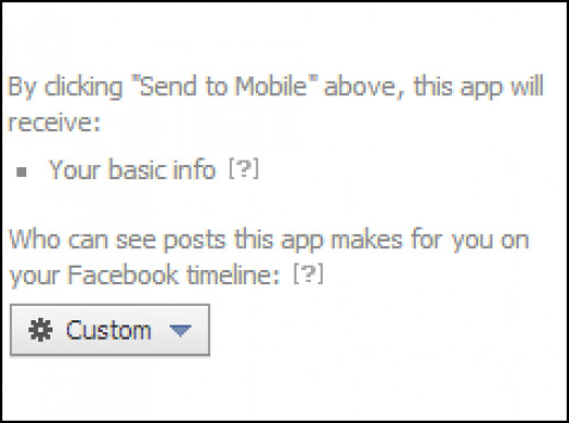 Facebook app requesting access to your account