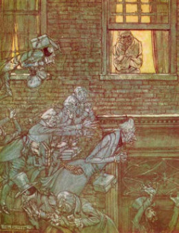 From the First American edition of  A Christmas Carol, illustrated by Arthur Rackham, 1915.