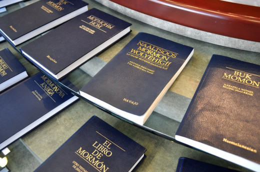 The Book of Mormon on display in Navajo and a few other languages.