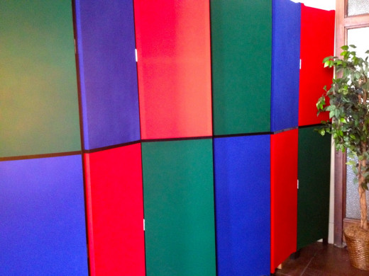This RGB  room divider is 7ft tall and two three panel screens are used to create a division in a room