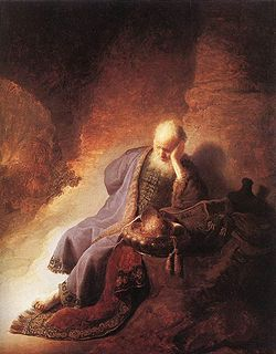 Rembrandt's rendering of the lamenting prophet Jeremiah