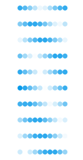 Individual frames of the dotted progress bar made with CSS3.