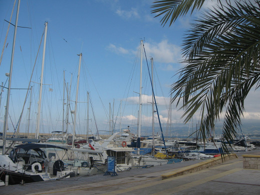 Beautiful yachts in Latchi Yacht Harbor