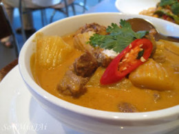 Massaman Curry made with coconut milk.