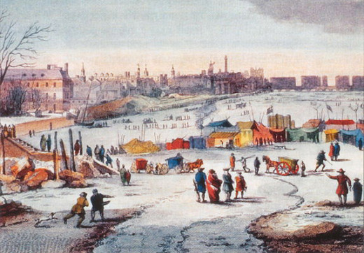 A painting by Thomas Wyke depicting a frost fair