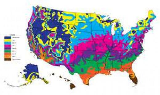 Dates of last frost in U.S.