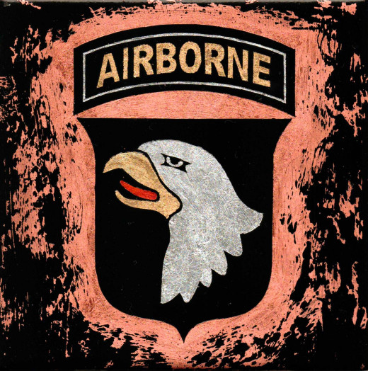 101st  Airborne military patch replica done with 24k gold, pure silver and pure copper leaf.