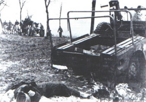 The body of Howard Hoffmeyer. Note that the Germans took his boots.