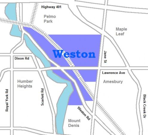 Map of Weston, Ontario