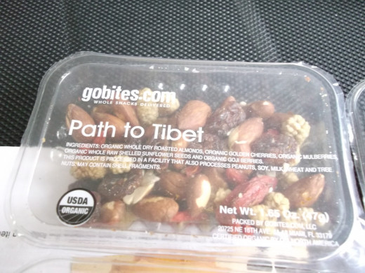 One of the included GoBites snacks - Path to Tibet.