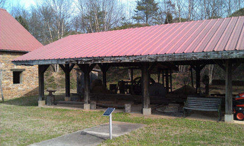 Replica of the sawmill at the Waldensian Trail of Faith.