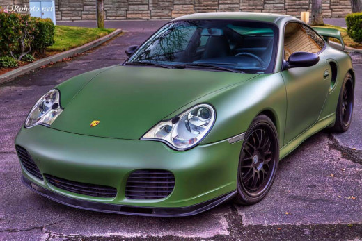 Beautiful Porsche wrapped in matte green