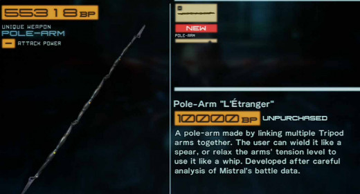 "Get the pole-arm ""L'Etranger"" by defeating Mistral"