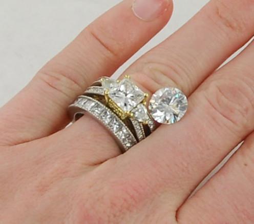 4ct enhanced Moissanite (Amora) next to a natural Diamond