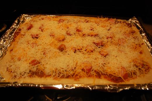 shredded mozzarella and cheddar on top