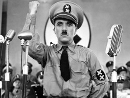 Charlie Chaplin as Hitler in the movie The Great Dictator (1940)