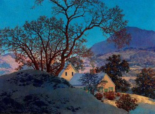 Early Morning, First Snow by Maxfield Parrish