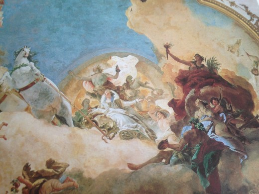 Apollo bringing Beatrice across the heavens to Friederick.  Fresco by Tiepolo in the grand salon of the Wurzburg Residence.