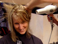 After a good cut, the proper blow drying technique is key to adding body to fine, thin hair.