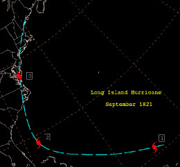 This is a track map of the 1821 Norfolk and Long Island Hurricane.
