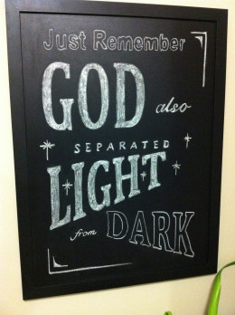 The chalk board wall art I created for my wife