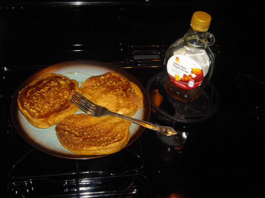 Pancakes and pure maple syrup are a tasty combination