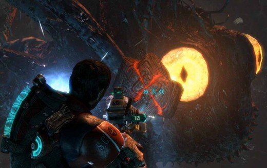 Dead Space 3 Defeat the Blood Moon - throw the markers into the eye using super kinesis