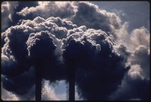 Stacks emitting smoke from burning discarded automobile batteries, photo taken in Houston in 1972 by official photographer of recently founded EPA