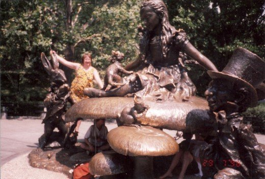 Upon the Alice in Wonderland statue in Central Park