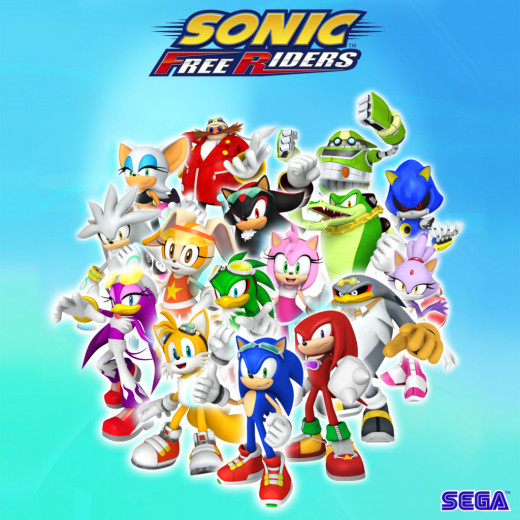 The characters: Rouge the Bat, Dr. Eggman, E-10000, Silver the Hedgehog, Cream the Rabbit, Jet the Hawk, Shadow the Hedgehog, Amy Rose, Vector the Crocodile, Metal Sonic, Wave the Swallow, Tails, Sonic, Knuckles, Storm the Albatross, Blaze the Cat