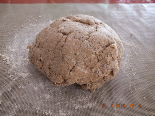 The dough will look a little ragged but you will soon transform it with your kneading.
