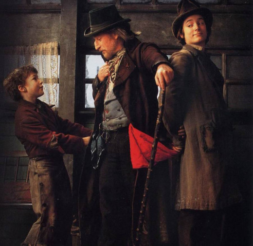 Alex Trench, Richard Dreyfuss and Elijah Wood in Oliver Twist (1997)