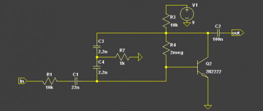 A simple 1 transistor speech filter with gain.