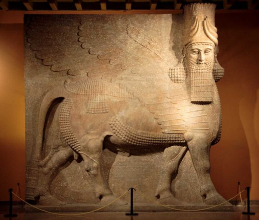 Lammasu (winged Minotaur) from the palace of Sargon II at Dur-Sharrukin.