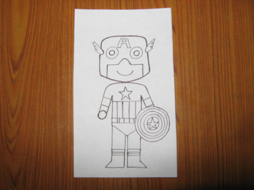 The pencil sketch of Captain America created by kids