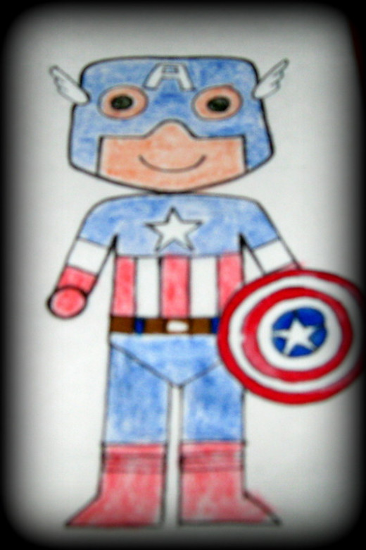 The colored Captain America sketch