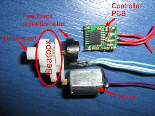 Servo Motor showing motor, potentiometer gearing and servo controller