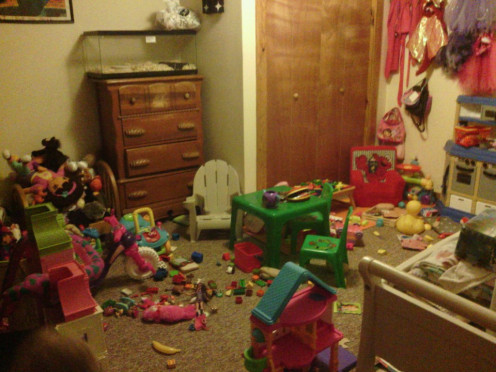 Child's room before decluttering.