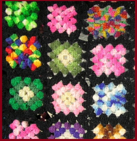 A Granny Square can be Made in a variety of color choices.