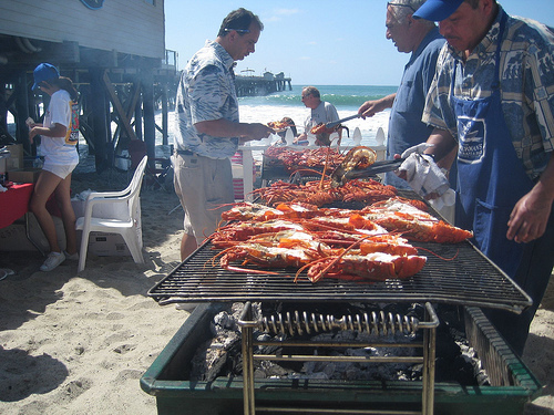 Lobster on the grill at the San Clemente Seafest