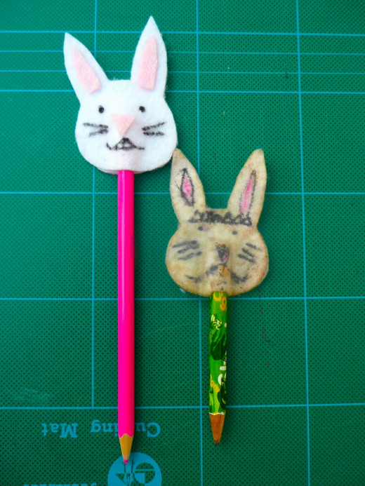 New and old bunny pencil puppets.