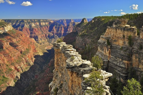 The Transept, North Rim, Grand Canyon National Park.  (Take a 10 mile hike on the North Rim on the Widforss Trail, which overlooks the Transept and the Bright Angel Canyon.)