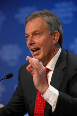 The 1997 Labour winner Tony Blair PM doing what he does best.