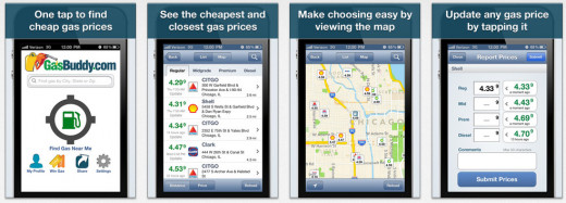 Images of the GasBuddy iPhone app.