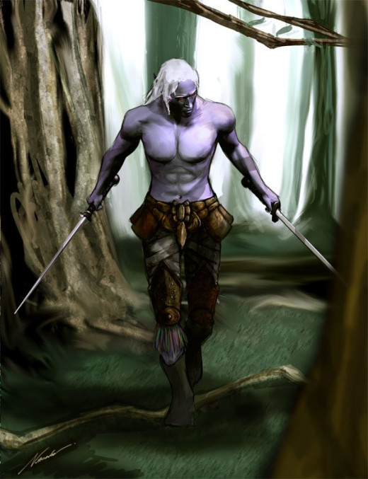 A dark-elf, or Drow, ranger.