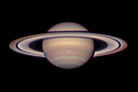 Photo compiled by author on May 20th, 2012 about a month after the 2012 opposition.  Notice the storm regions in the center of the lower hemisphere of Saturn.