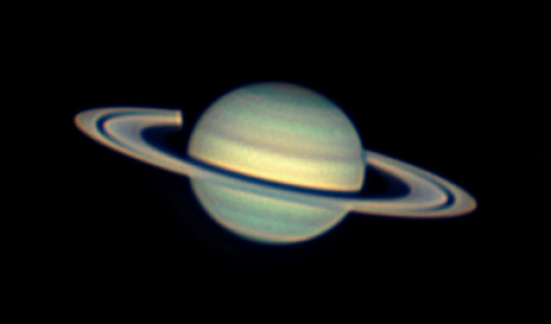 Photo compiled by author on April 22nd, 2008 - about 3 months after opposition.  Notice the shadow cast by Saturn on the rings.  This shadow is hidden by Saturn during opposition.