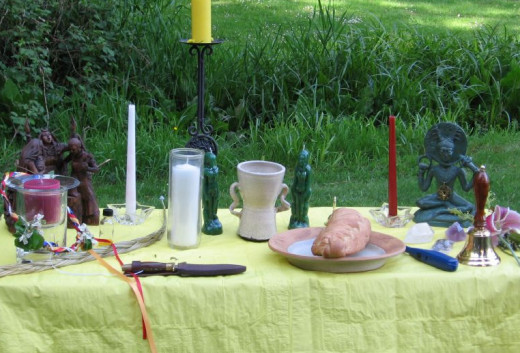 An example of a Wiccan altar.