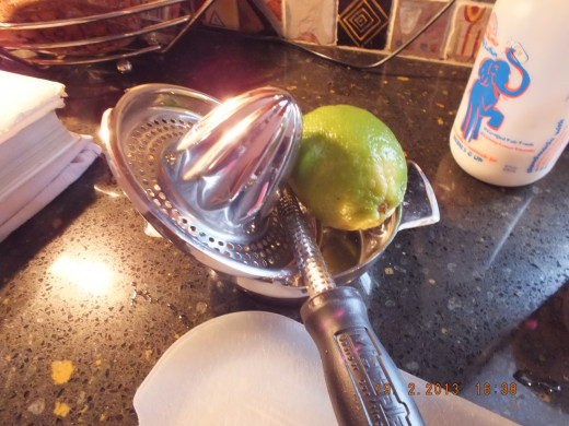 I like to zest and juice my lime using both in the sauce.